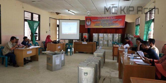 Proses rekapitulasi suara di Kecamatan Muara Dua, Kota Lhokseumawe. [Hadi]