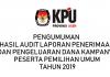 PENGUMUMAN  TENTANG  HASIL AUDIT LAPORAN PENERIMAAN DAN PENGELUARAN  DANA KAMPANYE  PESERTA PEMILIHAN UMUM TAHUN 2019
